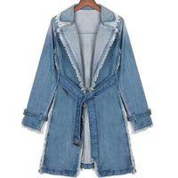 damen graben plus größen großhandel-Neue lose Mantel plus Größe Trench Womens lange Denim Trenchcoat Damen Oberbekleidung