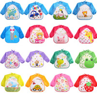 Wholesale Wholesale Children Aprons - Baby Toddler Cartoon Overalls Waterproof Long Sleeve Bibs Children Kids Feeding Smock Apron Eating Clothes Burp Cloths 18 styles C3435