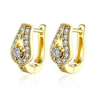 gold gefülltes pferd großhandel-vollständiger VerkaufHigh-Qualität U Form Gold Farbe gefüllt Horse Shoe Ohrringe Waterdrop Creolen Modeschmuck Frauen Liebe Valentinstag