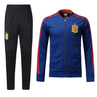 Wholesale Football Winter Jackets - 18 19 Spain Blue Soccer Tracksuit Adult Thai Quality Full Sleeve football Jacket And Pants 2018 Espana Training Suits Winter Soccer Coats