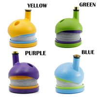 Wholesale plastic flexible pipe - Bukket pipe WickiePipes plastic Tobacco Smoking Pipes 4 colors Gravity Bong glass bongs Flexible Silicone