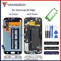 lcd samsung s6 edge venda por atacado-Original super amoled tela para samsung galaxy s6 edge g925f assembléia lcd substituição touch screen digitador dom gratuito