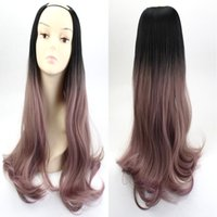 """Wholesale Ombre U Part Wigs - Long Wavy U Part Wig 24"""" Pink Grey Ombre Black Resist High Temperature Synthetic Hair For Women Wig"""