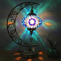 lampe de chambre de lune achat en gros de-Lampe turque en verre de mosaïque à la main lune romantique salon lune restaurant romantique chambre salon