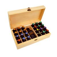 ingrosso ml bottiglie di olio essenziale-25 fori Oli essenziali Scatola di legno Bottiglie da 5 ml / 10 ml / 15 ml SPA YOGA Club Custodia Organizer Contenitore