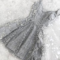 Wholesale purple homecoming dresses resale online - Stunning Crystal Appliques Gold Silver Homecoming Prom Dresses A Line Sexy Spaghetti Straps Mini Cocktail Dresses Custom BA6157