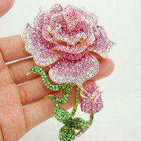 Wholesale pink rhinestone jewelry brooch for sale - Group buy Low Price Beautiful Rhinestone Fashion Jewelry Rose Bud Gold Plate Pink Rhinestone Crystal Brooch Pin For Woman