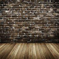 mur de briques achat en gros de-Impression numérique brique mur toile de fond bébé Vintage nouveau-né photographie accessoires enfants enfants studio photo shoot décors bois planche plancher