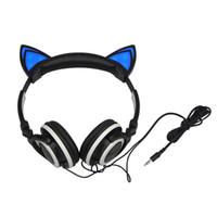 telefone móvel dobrável venda por atacado-Dobrável piscando brilhante orelha de gato fones de ouvido fone de ouvido fone de ouvido com luz led para pc laptop computador telefone móvel