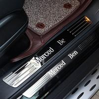 guarnição do peitoril venda por atacado-Acessórios interiores para mercedes Benz GLS320 GLS GL350 GL400 GL500 bem-vindo pedal limiar de peitoril protetor de tampa da tampa da etiqueta adesivo guarnição