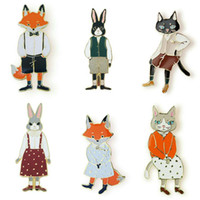 Wholesale fox brooches resale online - Mr Ms Gentleman Lady Cat rabbit fox Brooch pin Denim Animal Jacket Pin Shirt Badge Lovers jewelry Gift for couples