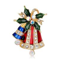 corpete de natal do vintage venda por atacado-New Vintage Cor De Ouro Rhinestone Bell Bowknot Broche Pinos Jóias Para Mulheres de Natal Broches Requintado Corsage
