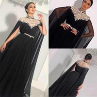 ingrosso vestiti convenzionali lunghi di lunghezza del pavimento-Abiti da sera neri in chiffon di cristallo collo alto modesto pieghe pieghe lunghe piano arabo Saudita abiti da ballo abito formale Dubai venduto da