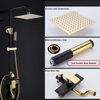 Wholesale bath faucet chrome - Gold Black Brass Square Rainfall 8 Inch Shower Faucet Set Single Handle 3 Ways Low Bath Tub Mixer Tap With Hand Shower