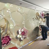 роспись для гостиной оптовых-3D тиснением цветок розы фото обои настенная роспись 3d большой размер для гостиной свадебный номер стены искусства декор фото печатные живопись