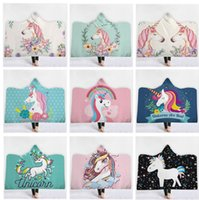 Wholesale hats hoodies online - 39 design Unicorn Hooded Blankets Adult Kids Sherpa Cloak Unicorn Hoodie Blanket Sherpa Fleece Cartoon Wearable Blanket With Hat KKA6238