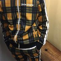 ingrosso vestiti casuali gialli delle donne-18AW PALM ANGELS Giallo Plaid Suit Retro Hip Hop Moda casual Sport Uomini e donne paio pantaloni Zipper Jacket HFSSTZ019