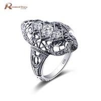 большие циркониевые кольца оптовых-Russian Vintage Big Cocktail Rings Round Cubic Zircon Hollow Out Crystal Ring 925 Silver Wedding Engagement Rings Trendy Classic