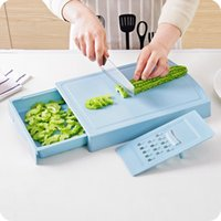 Wholesale kitchen drawers resale online - Plastic Chopping Block Kitchen Tool Double Deck Drawer Style Multi Function With Grater Storage Board Factory Direct hja V