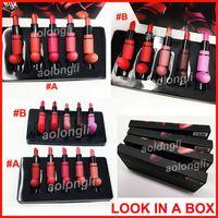 Wholesale makeup kits box - M Brand Makeup LOOK IN A BOX Limited Edition Lipstick MATTE Lipstick matte lip kit 10 color bullet head Lipsticks A & B Style