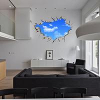 голубой потолок гостиной оптовых-2018 New Creative Blue Sky 3D Stereo Ceiling Living Room Bedroom Wall Sticker
