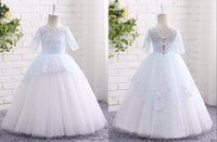 Wholesale Cute Kids Christmas Photos - Cute Light Blue And White Cheap Flower Girls Dresses Applique Ball Gown With Half Sleeves Hollow Back Wedding Dress For Girls Kids New