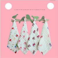 Wholesale wholesale baby cotton wash cloths - 46types New baby Bath towel bibs infant animal cartoon colorful bibs Kids wash cloth burp cloths square cotton 6 layer bibs bandana KSF33