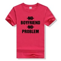 Wholesale Boyfriend Tee Shirt - Wholesale-NO BOYFRIEND NO PROBLEM Letters Print Tshirt Cotton Casual Shirt For Lady Black White Top Tee Big Size Hipster