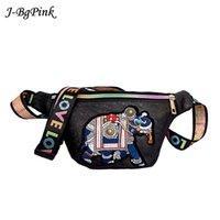 broderie d'éléphant achat en gros de-Femmes broderie éléphant Fanny packs taille sacs dames PU sac de ceinture en cuir poitrine sacs couleurs ceintures en cuir épaule