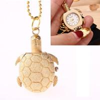 Wholesale Fashion Stationary - Cute little Turtle pocket watches Cartoon golden tortoise necklace watch Alloy chain hanging pocket quartz watch Kids Children's Gift