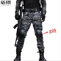 Wholesale Mens Camouflage Combat Trousers - Wholesale-Mens Military Tactical Loose Multi Pocket Militar Cargo Pants Ripstop Camouflage Combat Tactical Army Trousers With Knee Pads