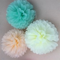 Wholesale tissue paper flower party decorations - Wedding Party Decoration Craft Flower 10pcs Tissue Paper Pom Poms Flower Balls Wedding Party Tissues Papers Pompoms 1 66gx4 gg