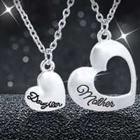 Wholesale Daughter Mother Heart Jewelry - letter pendant Mother Daughter Heart Necklace Dual Heart Pendants for women Family Best Friends Jewelry Mother's Day Gift drop ship 161865