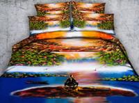 ölgemälde art bettbezug großhandel-JF409 Bunte natürliche landschaftliche bettdecke set 4/6 stücke ölgemälde stil wasserfall HD Digitaldruck bettwäsche königin könig bettbezüge