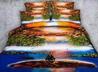 ingrosso copertura del duvet di stile della pittura a olio-JF409 colorato naturale scenografica copriletto 4 / 6pcs stile pittura a olio cascata HD stampa digitale biancheria da letto regina re copripiumini