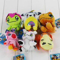Wholesale wholesale digimon toys online - 2018 New Hot kinds Digimon Plush Patamon Agumon Yagami Taichi pendant keychain Toys Lovely Gifts