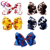 "Wholesale Wholesale Metallic Ribbon - 7"" 4.5"" Girl Clips Softball Team Baseball Cheer Bows Handmade Ribbon Clip Glitter Stiches with Bow Barrettes for Cheerleading Girls 220"
