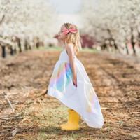 радужный пол оптовых-Радужные платья для чулок 95% хлопок в полоску с принтом для девочек Платья до пола Пляжная юбка дышащая летняя одежда 2-7 т