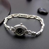 ingrosso orologio da polso di disegno della porcellana-orologio da uomo di design in argento sterling 925 orologi da polso fiori donne argento tailandese marcasite orologi al quarzo marca semplice porcellana d'epoca
