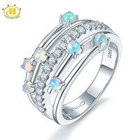 Wholesale opal rings sale - Hot Sale Hutang Jewelry Natural Gemstone Opal Solid 925 Sterling Silver Engagement Wedding Rings Fine Fashion Jewelry For Women 2018 New