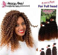 tissus synthétiques achat en gros de-Jerry bouclés faisceaux de cheveux brésiliens 14-18inch 6pcs / lot pour coudre la tête complète dans les extensions de cheveux synthétiques ombre brun foncé cheveux tissage