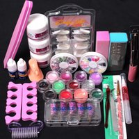 Wholesale nail deco set resale online - MENOW Newly Pro in Acrylic Nail Art Tips Liquid Buffer Glitter Deco Tools Full Kit Professional Set