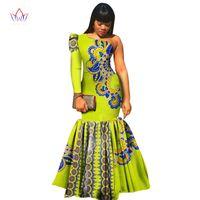 vestido de sirena asimetrico al por mayor-2018 asimétrico vestido de fiesta por encargo africano impreso Dashiki vestido único cera impresa sirena vestido WY346