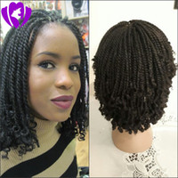 Wholesale kinky curly braiding hair medium brown for sale - Group buy 180density full natural black brown ombre color brazilian full lace front wig synthetic short hair kinky twist braided wigs for black women