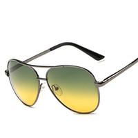 óculos de sol uv amarelo venda por atacado-Cubojue Dia Noite de Condução Óculos Homens Mulheres Aviação Lente Verde Amarelo Polarizada Óculos De Sol para Homem Motorista Anti Glare Polar UV