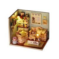 ingrosso mobili in miniatura di bambola fatti a mano-3D Mini Dollhouses Casa delle marionette Mobili artigianali fatti a mano Miniature Case delle bambole in legno Giocattoli di legno per i bambini Regalo di compleanno