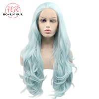 Honrin capelli parrucche resistenti al calore dei capelli menta verde sirena  onda del corpo dei capelli sintetici parrucca anteriore del merletto per le  ... 57b90a2f23c