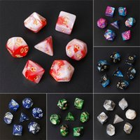 Wholesale dungeons dragons dice for sale - 7pcs Set Acrylic Polyhedral Dice for TRPG Board Game Dungeons and Dragons D4 D20 Drop Shipping