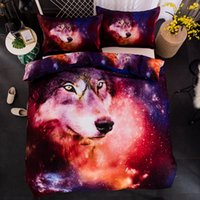 Wholesale wolf pillow covers - Wolf Duvet Doona Quilt Cover Set Double Queen King Size Pillow Cases Galaxy New Free Shipping
