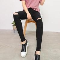 pantalones vaqueros imitados al por mayor-Algodón High Elastic Imitate Jeans Mujer Rodilla Skinny Pencil Pants Slim Ripped Jeans para mujer Black Ripped Jeans S-XL al por mayor